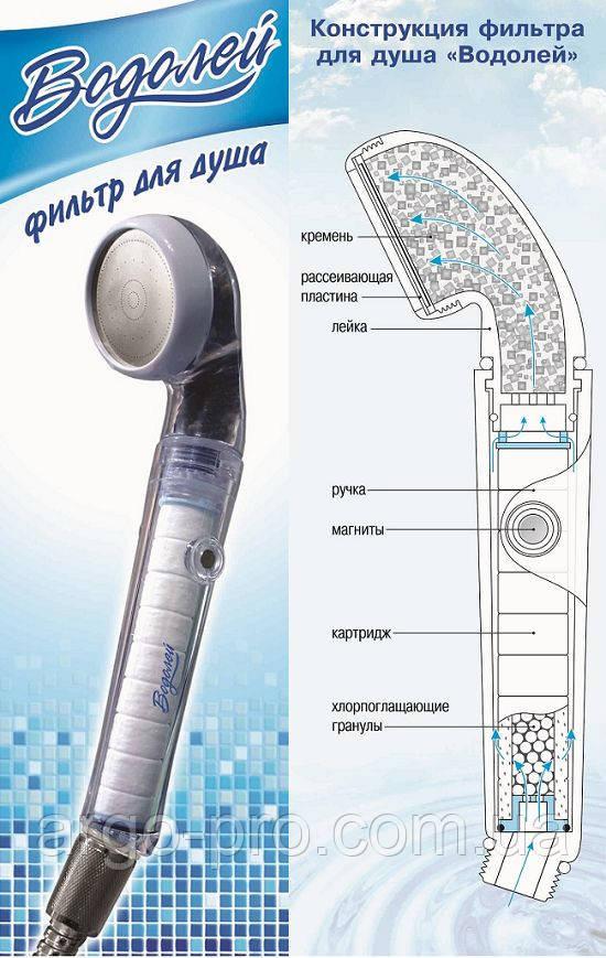 Фильтр для душа «Водолей» Арго фильтр лейка для очистки воды от примесей, хлора, магнитная обработка, кремень