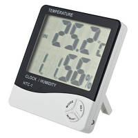 Термометр годинник гігрометр LCD 3 в 1 HTC-1, кімнатний термометр