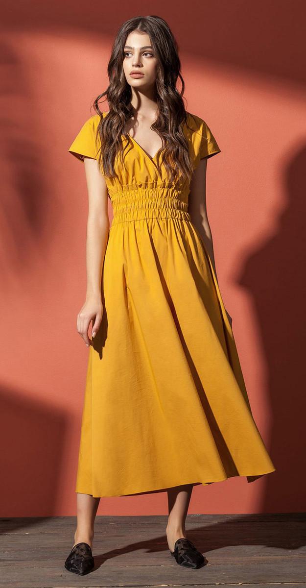 Платье Nova Line-5862 белорусский трикотаж, горчица, 42