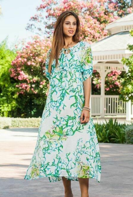 Туника, платье длнное летнее из хлопка зеленое Индиано 1237