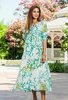 Туника, платье длнное летнее из хлопка зеленое Индиано 1237, фото 1