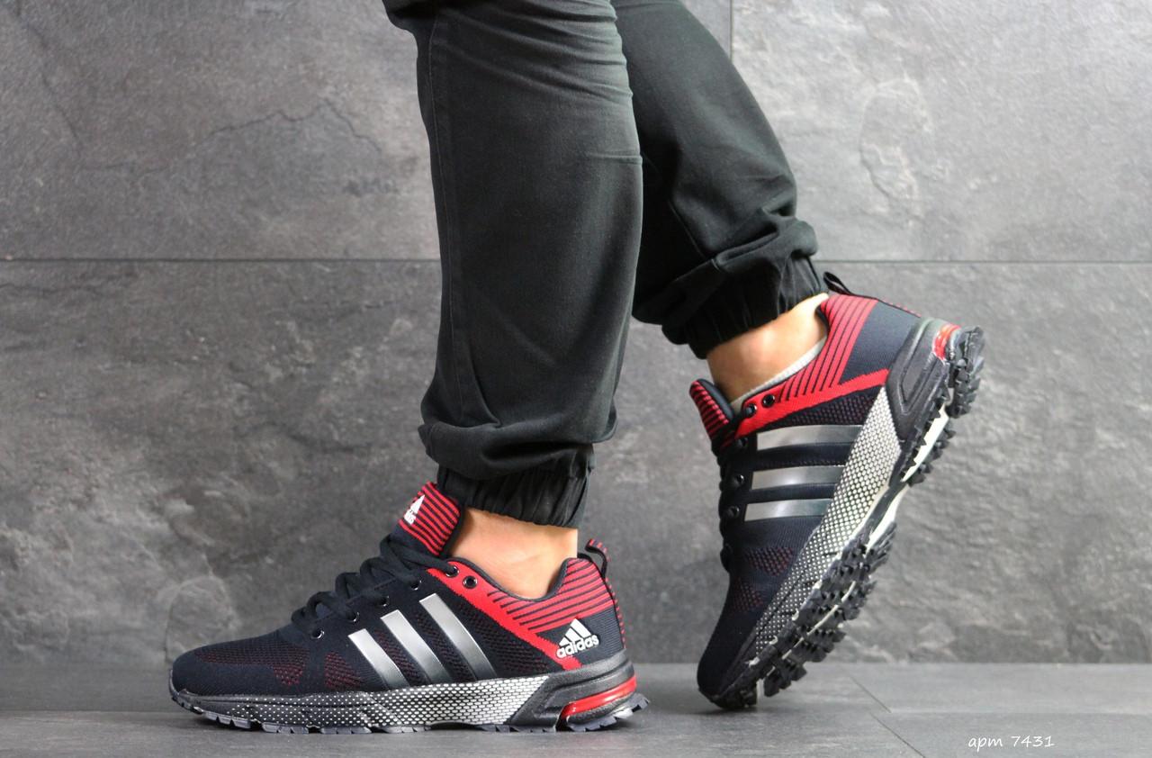 Мужские кроссовки Adidas Fast Marathon (темно-синие с красным)