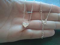 Серебряное колье с сердечком