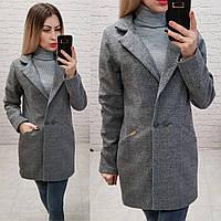 Женское пальто материал кашемир фабричный китайдлина 80 см цвет серый, фото 1