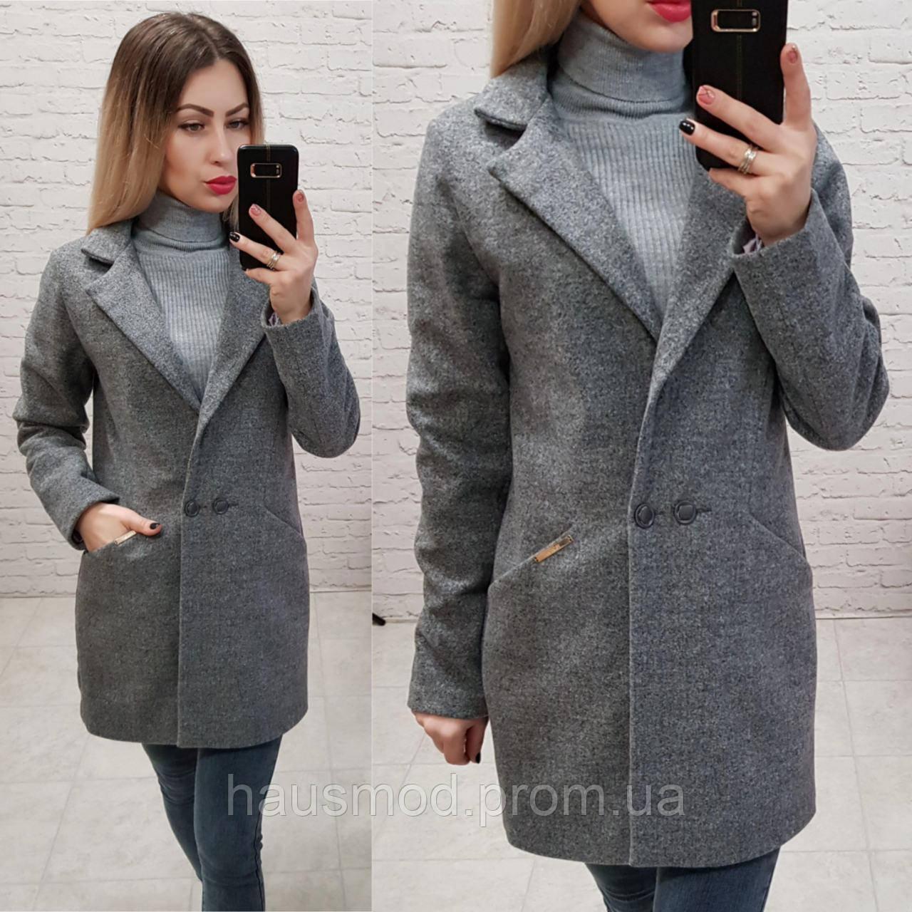Женское пальто материал кашемир фабричный китайдлина 80 см цвет серый