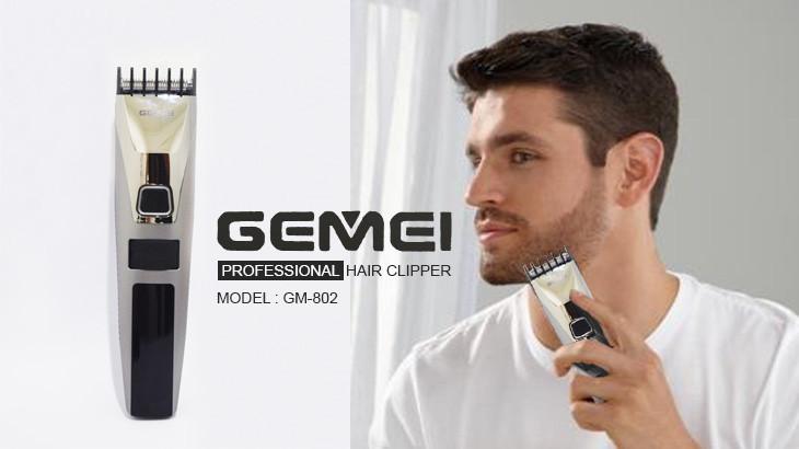 Профессиональная машинка для волос бороды Gemei GM 802 с дисплеем