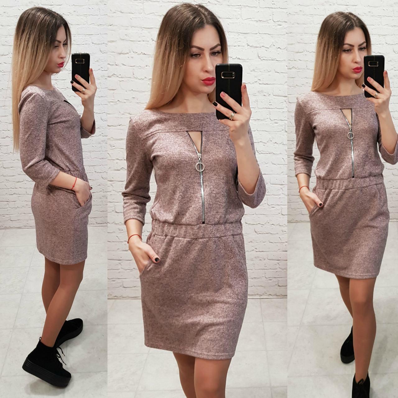 Платье арт. 151 серо - розовый меланж