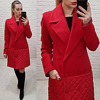 Женское пальто материал кашемир-плащевка подкладка стеганка на синтепон 100 цвет красный