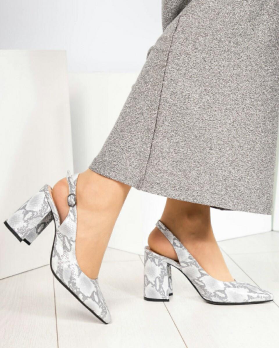 Туфли женские кожаные с открытой пяткой рептилия на каблуке Размер 38