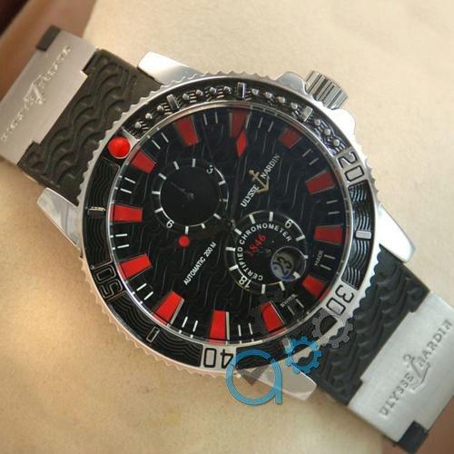 Наручные мужские часы Ulysse Nardin Maxi Marine Diver Silver-Black-Red