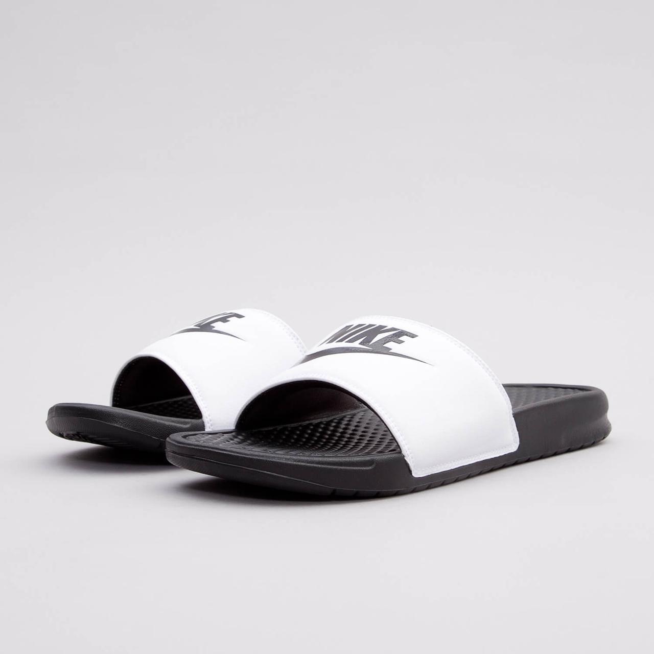 8fc89d98 Мужские спортивные тапочки Nike Benassi JDI Slide 343880-100 Белый с черным  41 (8