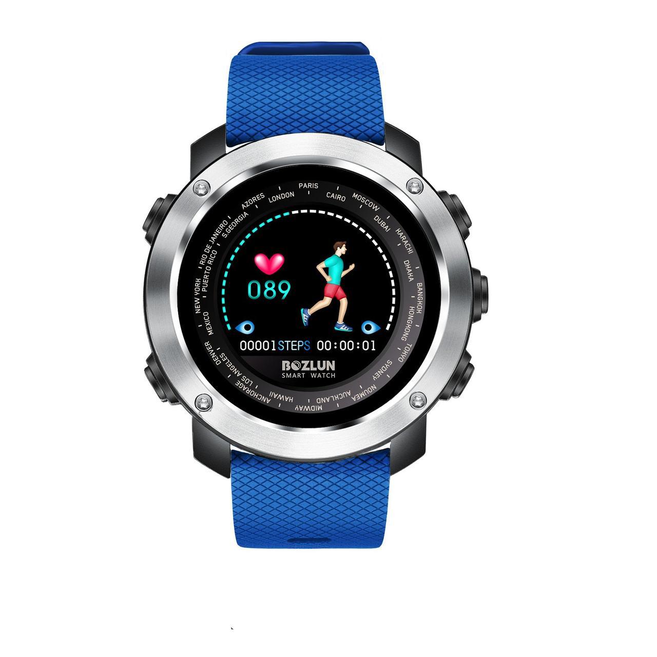 Наручные мужские часы Smart watch Silver-Black-Blue Wrisband