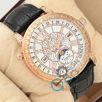 Наручные мужские часы Patek Philippe Grand Complications 6002 Sky Moon Black-Gold-White