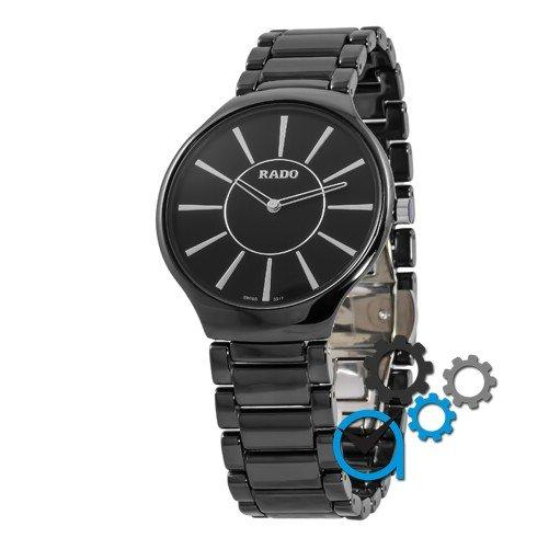 Наручные женские часы Rado Thinline Ceramic Black-Silver