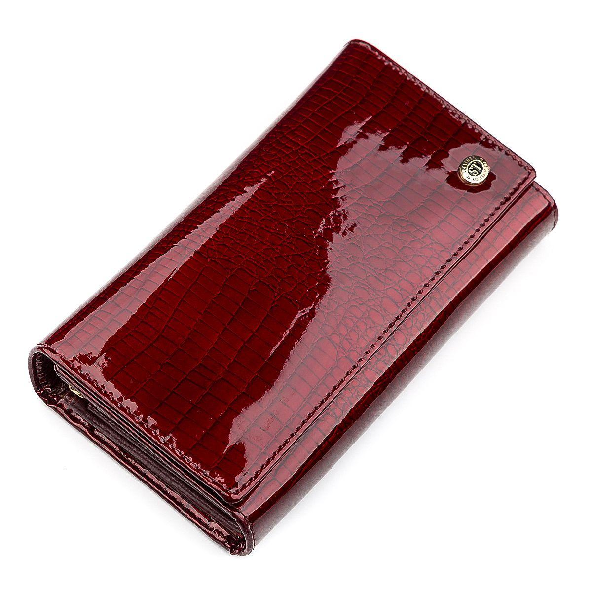 Кошелек женский ST Leather 18429 (S8001A) многофункциональный Бордовый, Бордовый