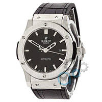 Наручные мужские часы Hublot Classic Fusion Mechanic Black-Silver-Black Leather