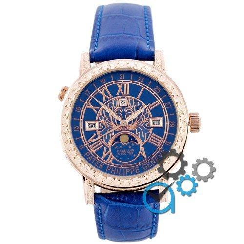 Наручные мужские часы Patek Philippe Grand Complications 6002 Sky Moon Blue-Gold-Blue