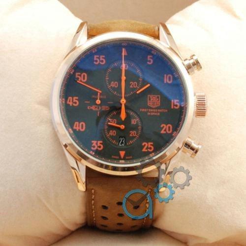 Наручные мужские часы TAG Heuer Carrera 1887 SpaceX Quartz Gold/Black-Orange