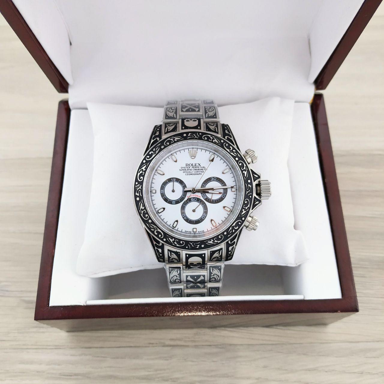 Наручные мужские часы Rolex Daytona AAA Silver-White Skull