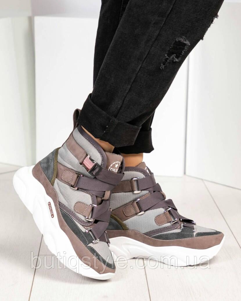 37 размер! Женские ботиночки Chl@е визон+серый деми натуральный нубук, застежка карабин