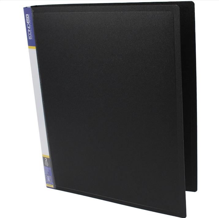 Папка пластиковая А4 Economix 2 кольца, черная E30701-01