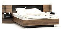 Кровать с прикроватными тумбочками Фиеста + ортопедический вклад  Мебель Сервис Дуб април темный/Черный