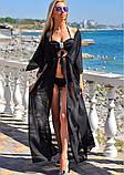 Черный пляжный халат - 42-44р. (бюст 84-88см, длина 142-145см), шифон, фото 3