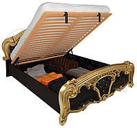 Кровать двухспальная с подъемным механизмом Реджина / Regina MiroMark 160х200 черный глянец - золото