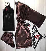 Домашняя одежда- женский комплект халат+майка+шорты 081-054.