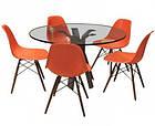 Стул Тауэр Вуд оранжевый пластик с ножками из бука от SDM Group, фото 3