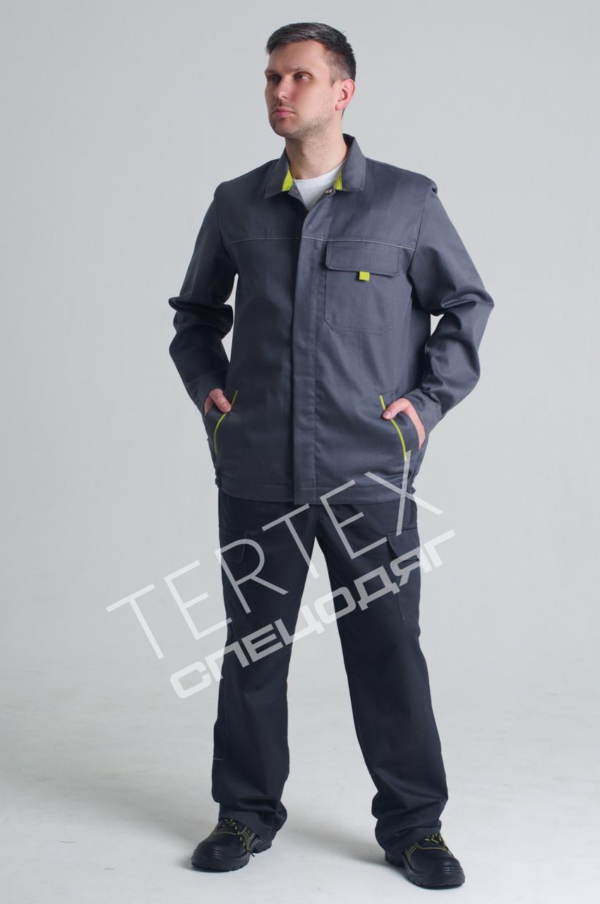 Костюм робочий сірий з лимонними вставками (куртка та напівкомбінезон)