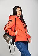 Женская прямая короткая куртка со шнуровкой 42-52 рр оранжевого цвета