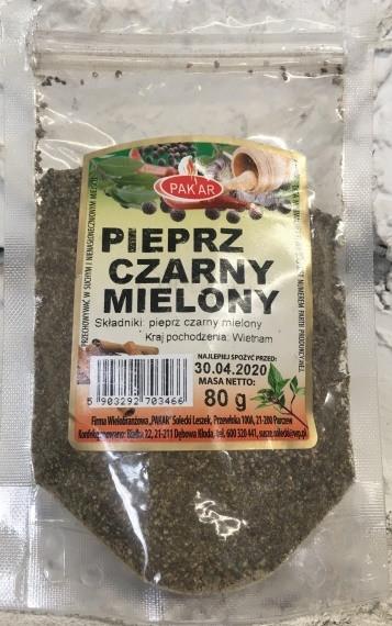 Перец черный молотый Pakar 80 гр. Польша