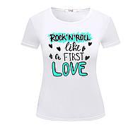Футболка ROCK 'N' ROLL LOVE жіноча біла
