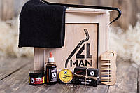 """Ящик 4MAN """"Бородач"""". Подарочный набор для ухода за бородой в ящике. Набор для бороды который нужно добыть!"""