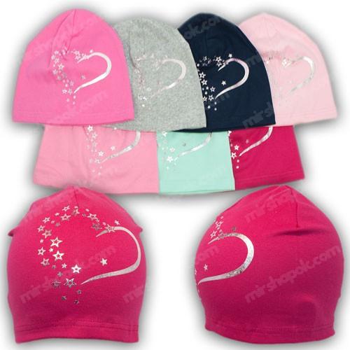 Трикотажные шапки для девочки, р. 48-50