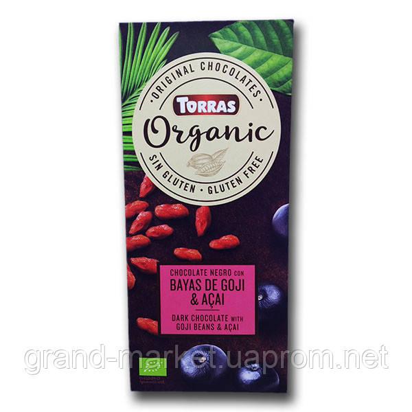 """Шоколад черный с ягодами годжи и асаи """" Torras Organic """" 100 g"""
