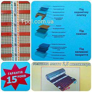 Ленточный теплый пол cтн нагревательный мат up 1,5 м2 под плитку или под ламинат размер 1м*1,5м, фото 2