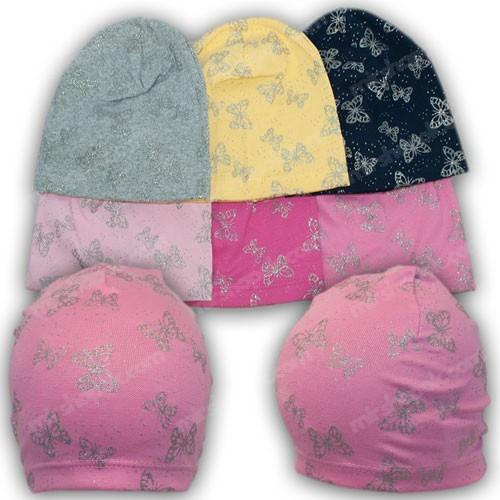 Трикотажные шапки на девочку с напылением, р. 50-52