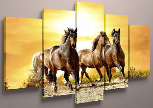 Картина модульная лошади холст 125х70