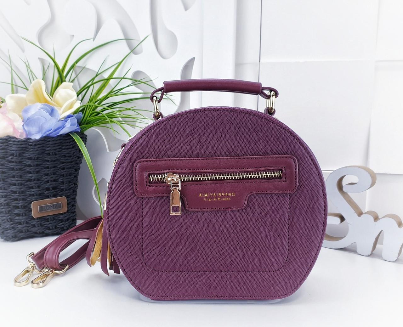 6a1a725c1aed Модная сумка-клатч круглой формы из искусственной кожи бордового цвета -  Баэль в Харькове