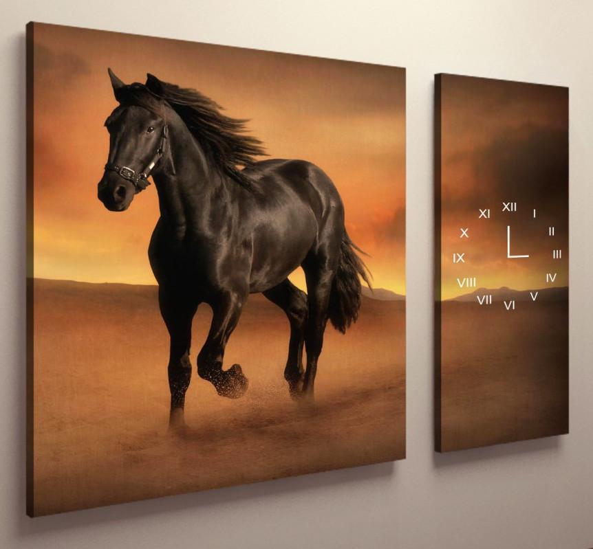 Часы настенные на холсте Лошади 100х60