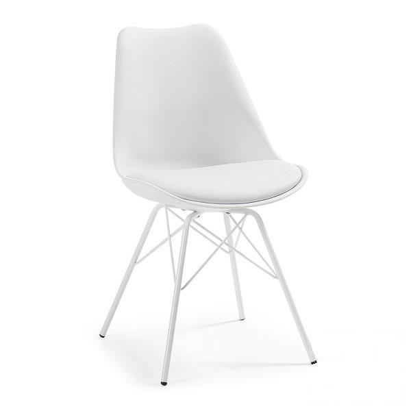 Пластиковый стул Тау белый от SDM Group с подушкой из кожзама, ноги металл
