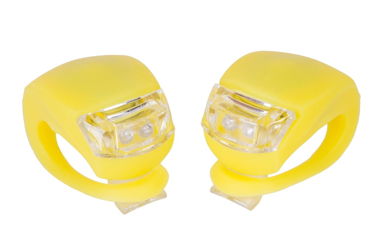 Мигалка 2шт BC-RL8001 белый+красный свет LED силиконовый (желтый корпус)