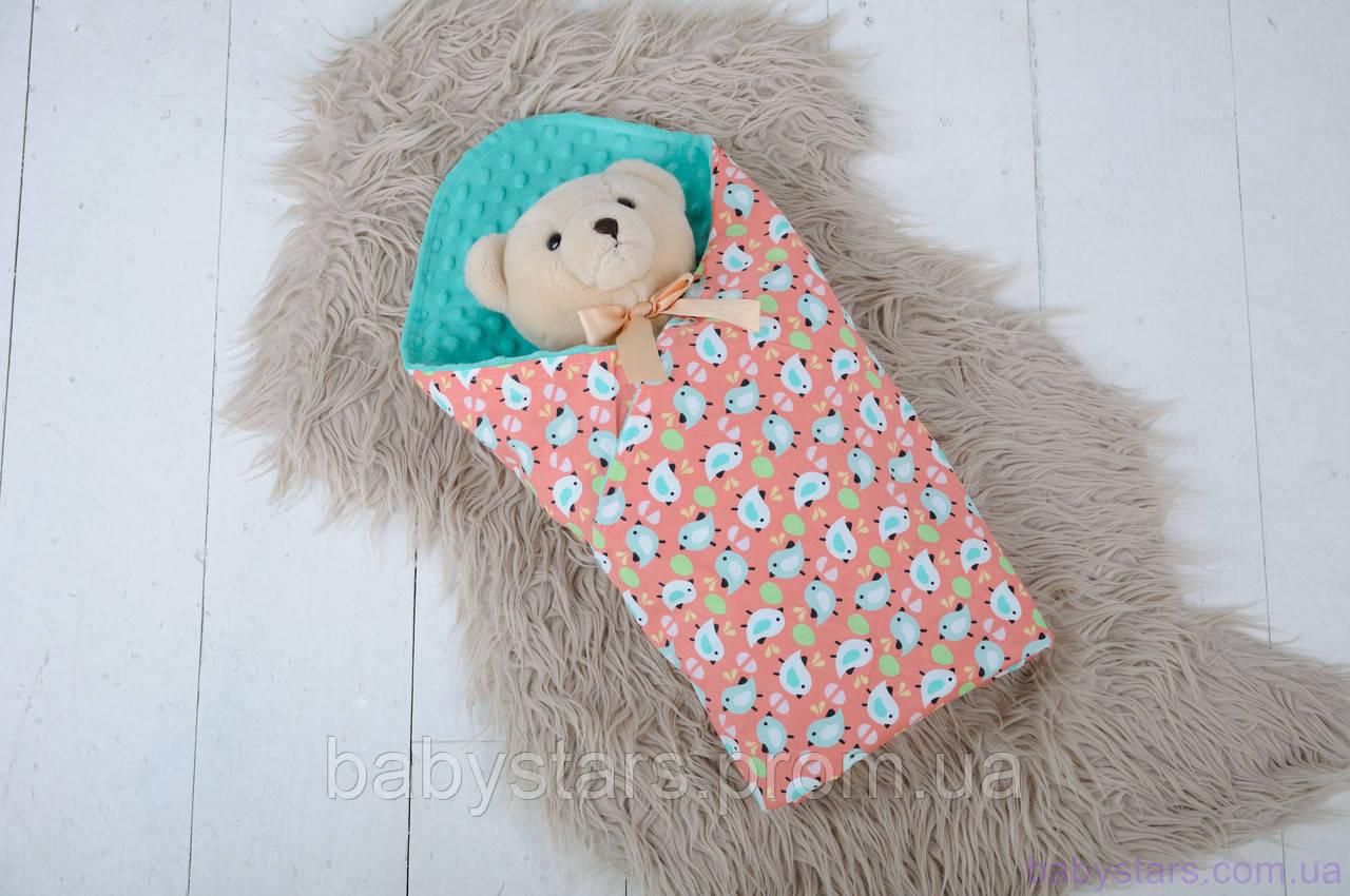 Плюшевые пледы для новорожденных Minky с хлопком, цвет ментол