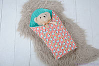 Плюшеві пледи для новонароджених Minky з бавовною, колір ментол, фото 1