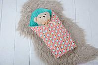 Плюшевые пледы для новорожденных Minky с хлопком, цвет ментол, фото 1