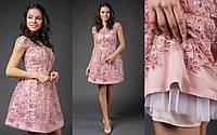 Милое короткое платье из французского кружева с пайеткой размеры S-L, фото 1