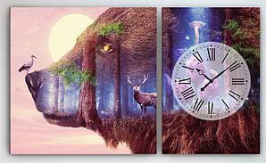 Модульна картина с годинниковим механізмом Ведмідь 100х60