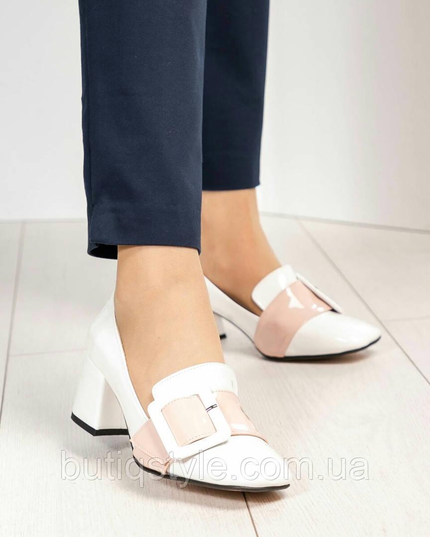40 размер Женские белые туфли с пряжкой на толстом каблуке эко-кожа/лак